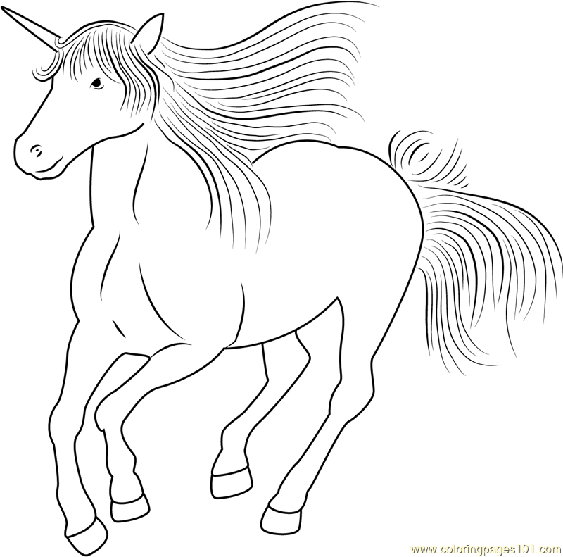 Unicorn Running Coloring Page