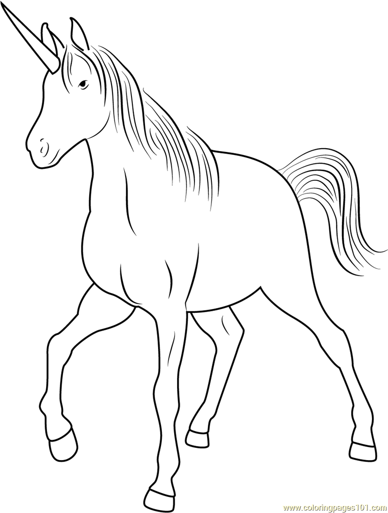 Unicorn Walking Coloring Page