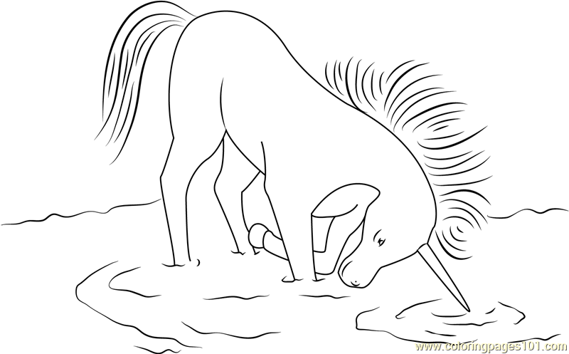 Unicorn in Drinking Water Coloring Page