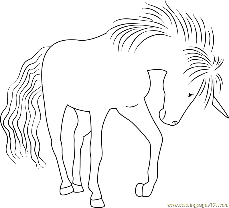 Unicorn of the Rainbow Carol Coloring Page
