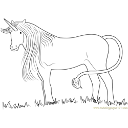 Silver Unicorn Standing in Miisty Forest Free Coloring Page for Kids