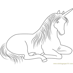Sitting Unicorn Free Coloring Page for Kids
