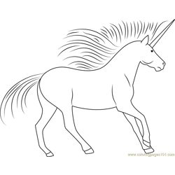 Standing Unicorn Free Coloring Page for Kids