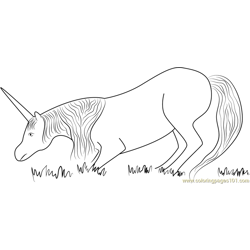 Unicorn Eating Grass Free Coloring Page for Kids