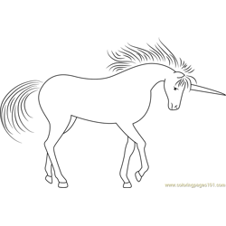 Unicorn Fantasy In The Forest Free Coloring Page for Kids