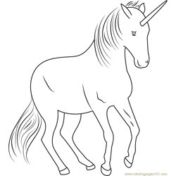 Unicorn Fly Free Coloring Page for Kids