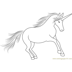Unicorn Look At Free Coloring Page for Kids