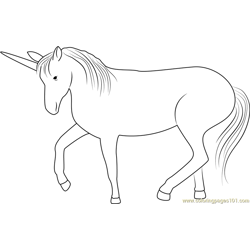 Unicorn Look Free Coloring Page for Kids