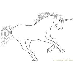 Unicorn Play Free Coloring Page for Kids