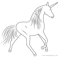 Unicorn Running Fast Free Coloring Page for Kids