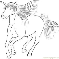 Unicorn Running Free Coloring Page for Kids