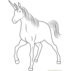 Unicorn Walking Free Coloring Page for Kids