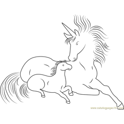 Unicorn With Her Son Free Coloring Page for Kids