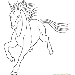 Unicorn by Dolphy Free Coloring Page for Kids