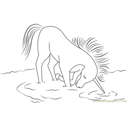 Unicorn in Drinking Water Free Coloring Page for Kids