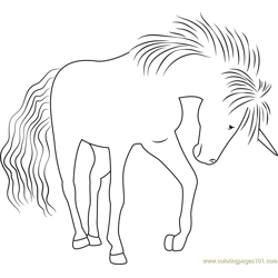 Unicorn of the Rainbow Carol Free Coloring Page for Kids
