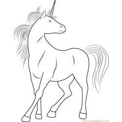 White Unicorn Free Coloring Page for Kids