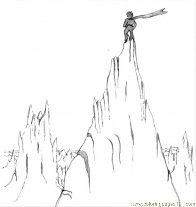 Little Prince On The Mountain Coloring Page