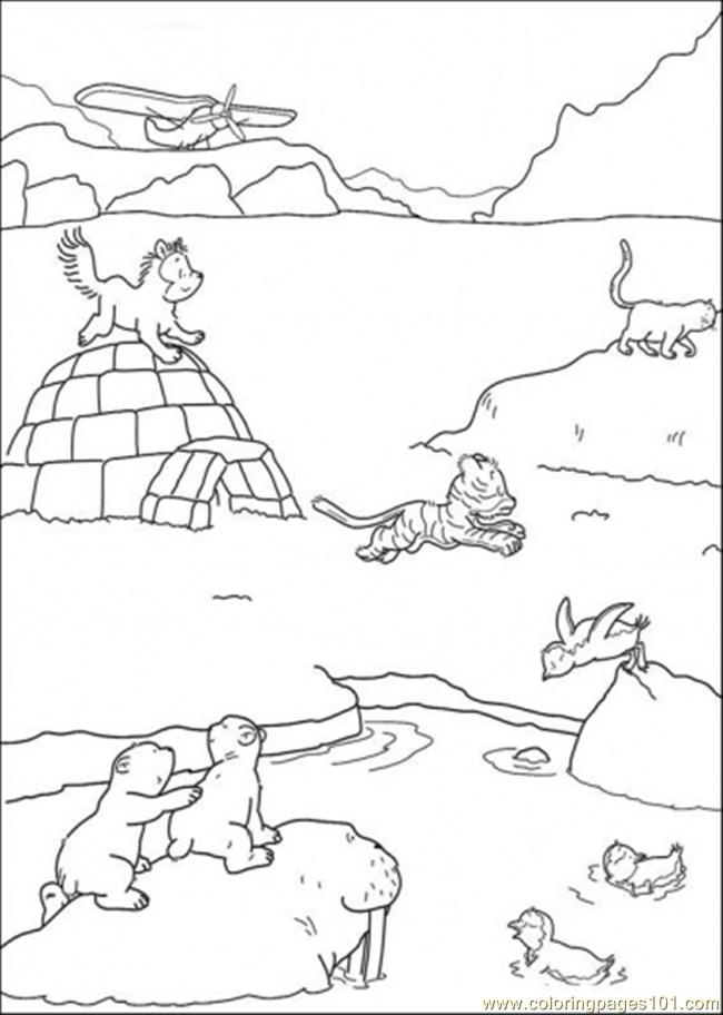 Polar Bear And Friends Are Playing On The Ice Coloring Page