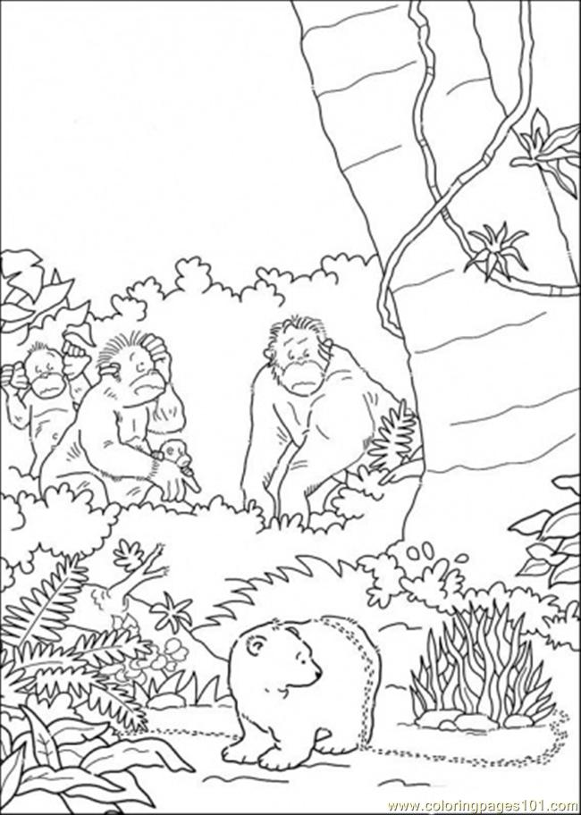 Polar Bear And Monkeys Coloring Page Free The Little