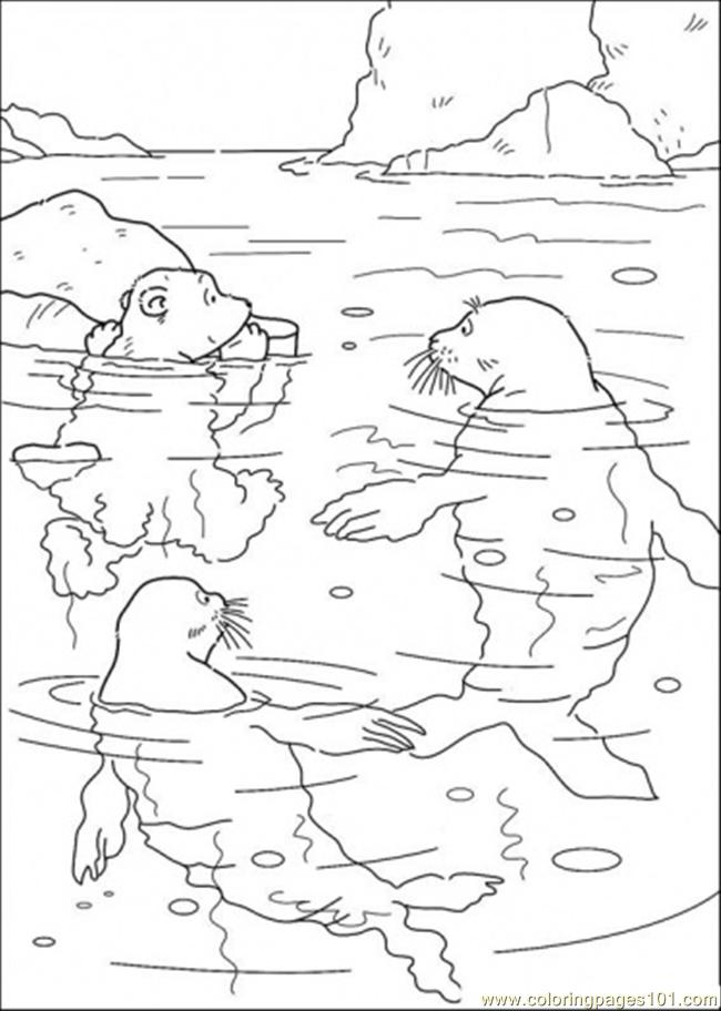 Polar Bear And Swimming With The Walrus Coloring Page Free The