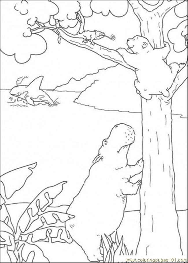 Polar Bear Climbs The Tree Coloring