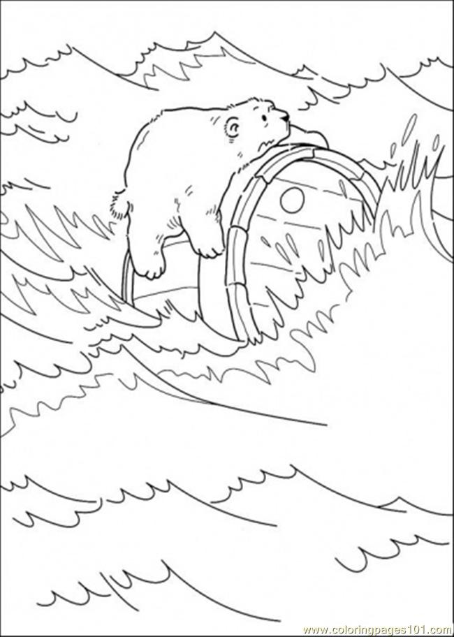 Polar Bear Is Holding A Crock Coloring Page