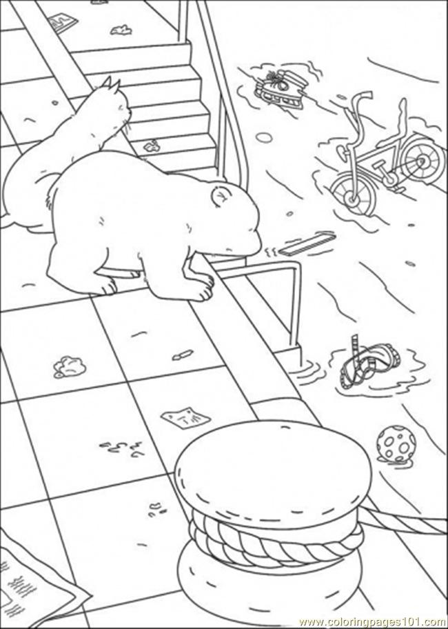 Polar Bear Is Looking At The Sea Coloring Page