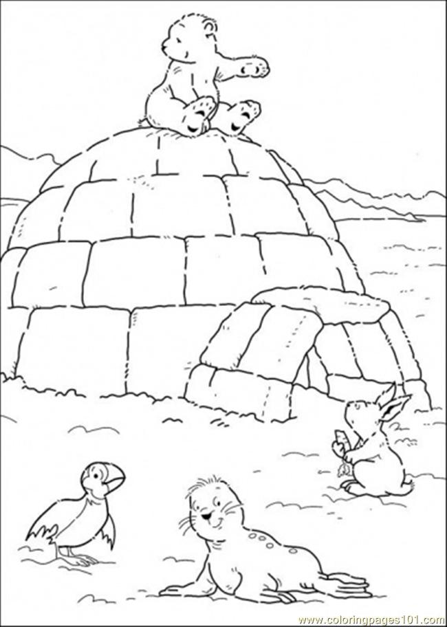 Polar bear is sitting on the house coloring page