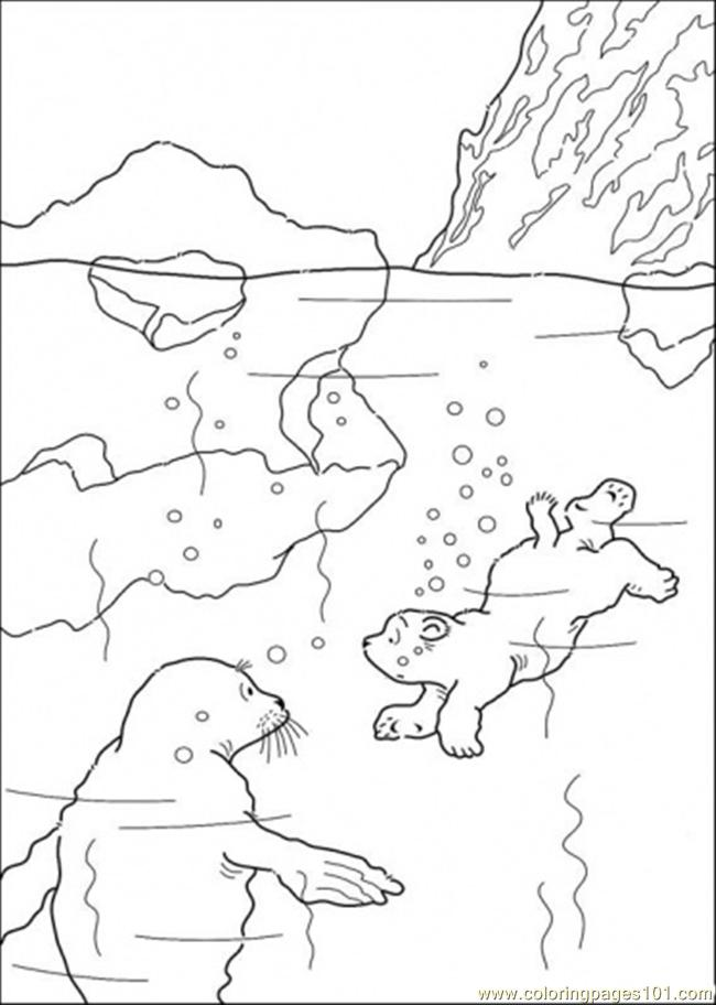 Polar Bear Is Swimming Coloring Page