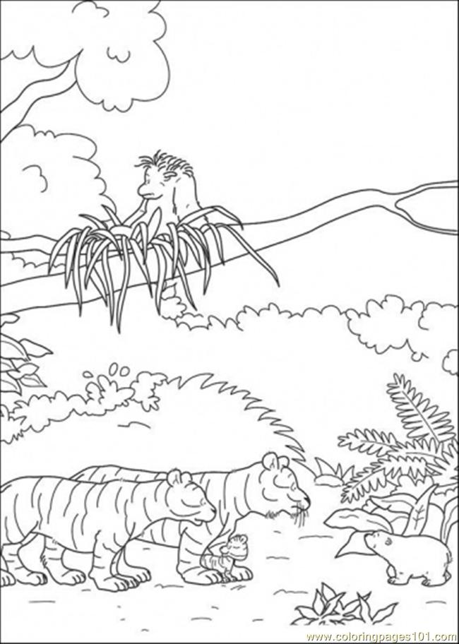 Polar Bear Meets Tigers Coloring Page