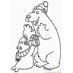 Polar Gift4 Free Coloring Page for Kids