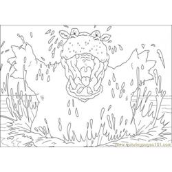Hippotamus Free Coloring Page for Kids