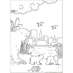 Little Bear Are Walking Together With Big Bear Free Coloring Page for Kids