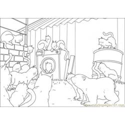 Polar Bear And Cat Family Free Coloring Page for Kids