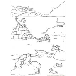 Polar Bear And Friends Are Playing On The Ice Free Coloring Page for Kids