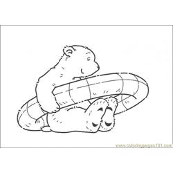 Polar Bear Holds Its Float Free Coloring Page for Kids
