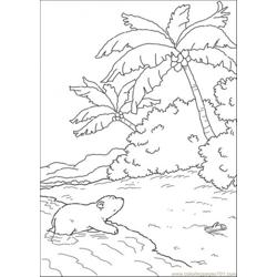 Polar Bear In The Island Free Coloring Page for Kids