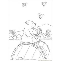 Polar Bear Is Eating Banana Free Coloring Page for Kids