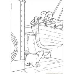 Polar Bear Is Looking At The Cat Free Coloring Page for Kids
