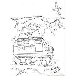 Polar Bear Is Riding The Vehicle Free Coloring Page for Kids