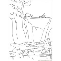 Polar Bear Try To Cross The Bridge Free Coloring Page for Kids