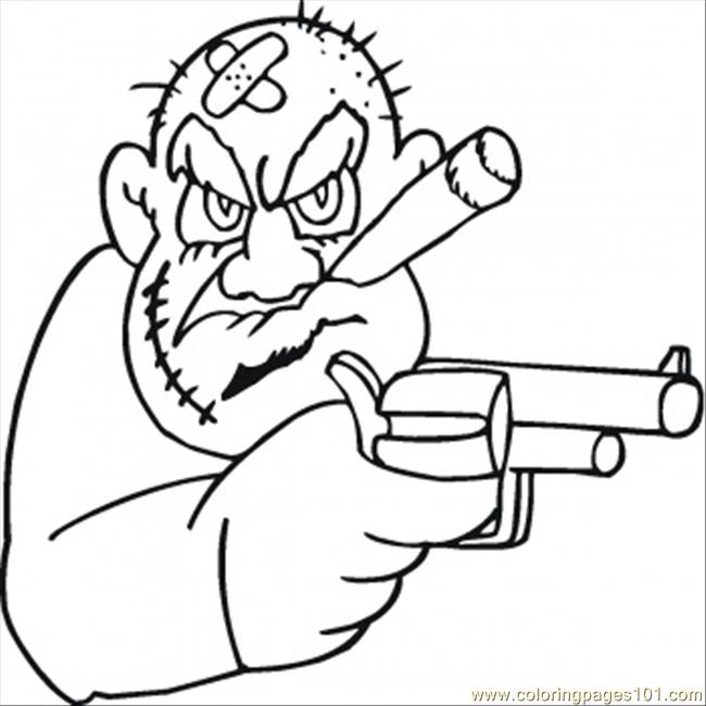 old mafioso is looking for money coloring page