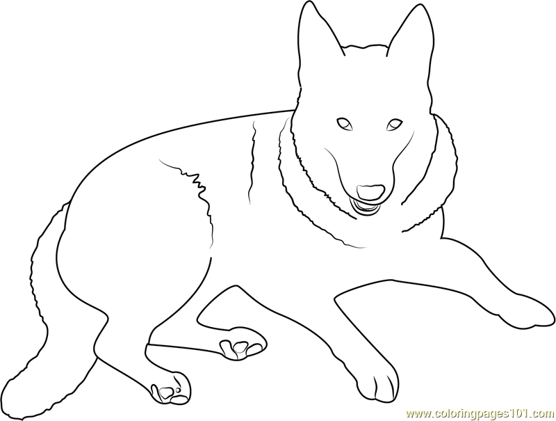 German Shepherd Dog Coloring Page - Free Dog Coloring Pages :  ColoringPages101.com