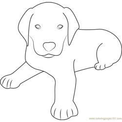 Cute Dog Sitting Free Coloring Page for Kids