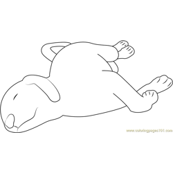Dog Puppy Sleeping Free Coloring Page for Kids