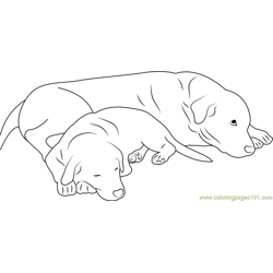 Dog Sleeping with Mother Free Coloring Page for Kids