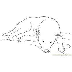 Dog Sleeping Free Coloring Page for Kids