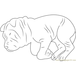 Funny Dog Sleeping Free Coloring Page for Kids