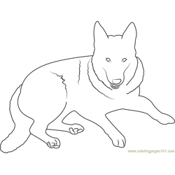 German Shepherd Dog Free Coloring Page for Kids